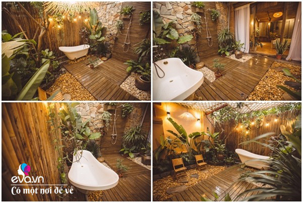 Muốn có khu tắm tiên, 8X vác tre, nứa về giữa thủ đô cải tạo sân vườn 55m2 đẹp mê - Ảnh 2.