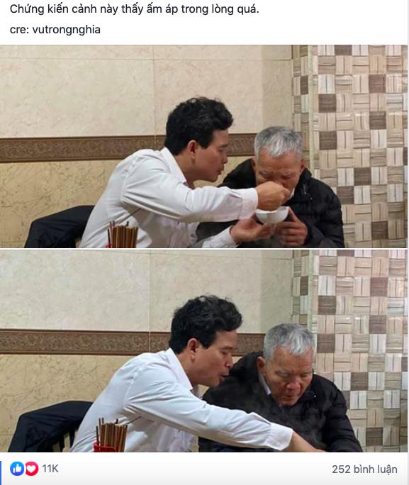 Hình ảnh người con trai lớn tuổi đút từng thìa bún rồi động viên Bố cố ăn hết bát này nhé khiến nhiều người nghẹn ngào - Ảnh 1.