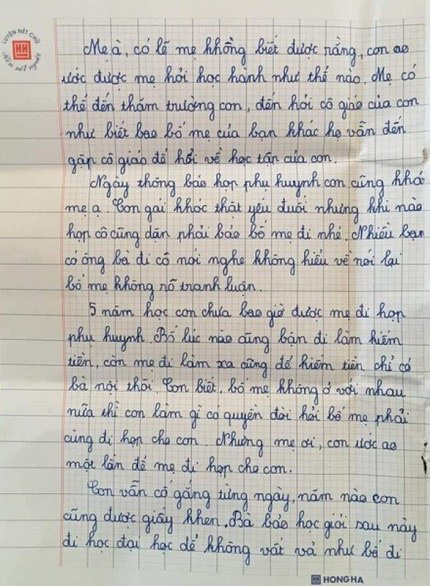 Nghẹn lòng khi đọc bức thư gửi mẹ của em học sinh lớp 5 ở Nghệ An - Ảnh 2.