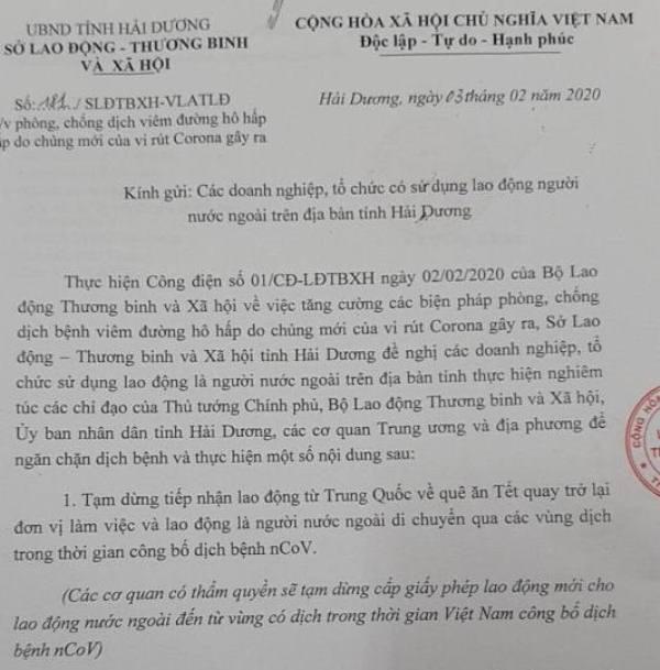 Cách ly 9 công nhân Trung Quốc ở Hải Dương đi qua vùng dịch nCoV - Ảnh 3.