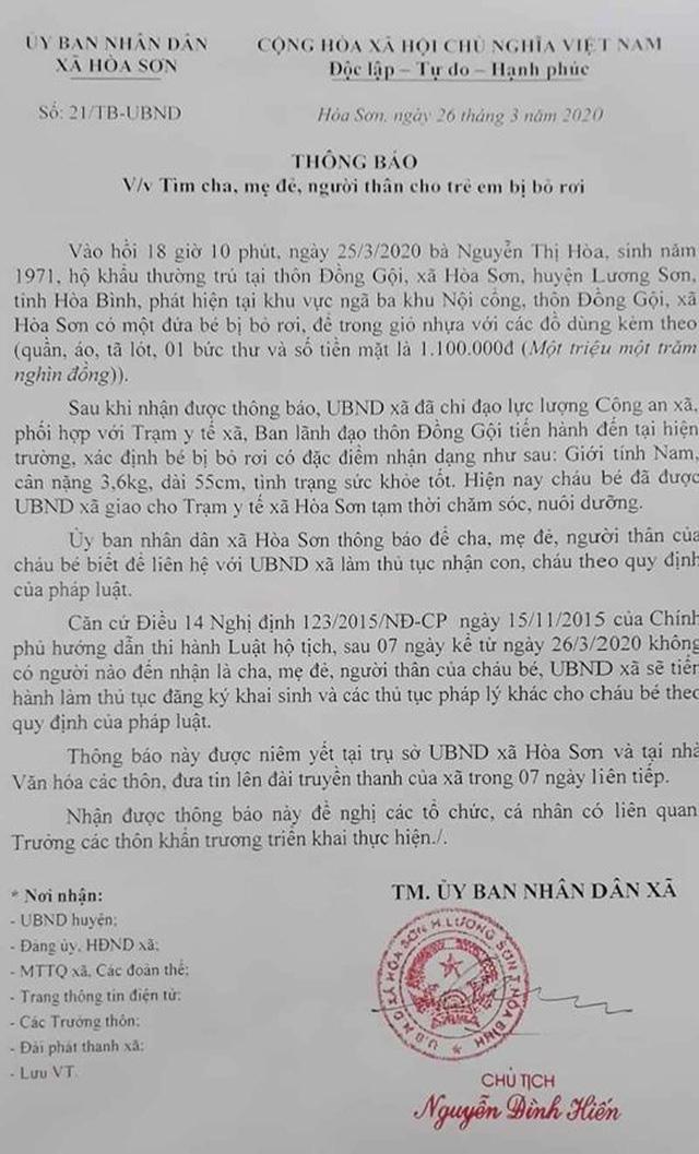 Bé trai sơ sinh bị bỏ rơi cùng 1,1 triệu đồng - Ảnh 2.