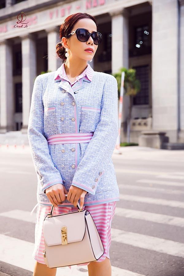 Hoa hậu Oanh Lê đón đầu xu hướng thời trang xuân hè - Ảnh 2.