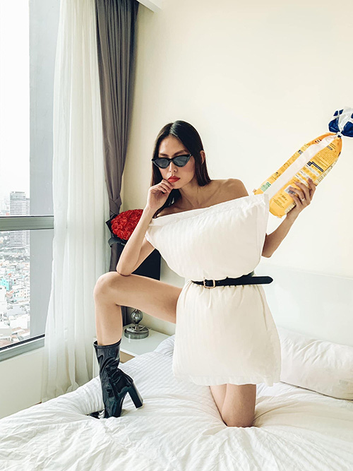Sao Việt đua nhau biến gối ngủ thành váy sexy - Ảnh 6.