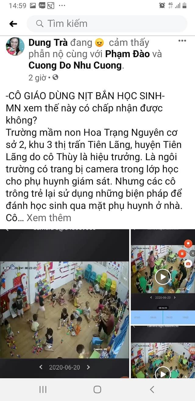 Thực hư vụ cô giáo mầm non dùng nịt bắn học sinh ở Tiên Lãng, Hải Phòng - Ảnh 1.