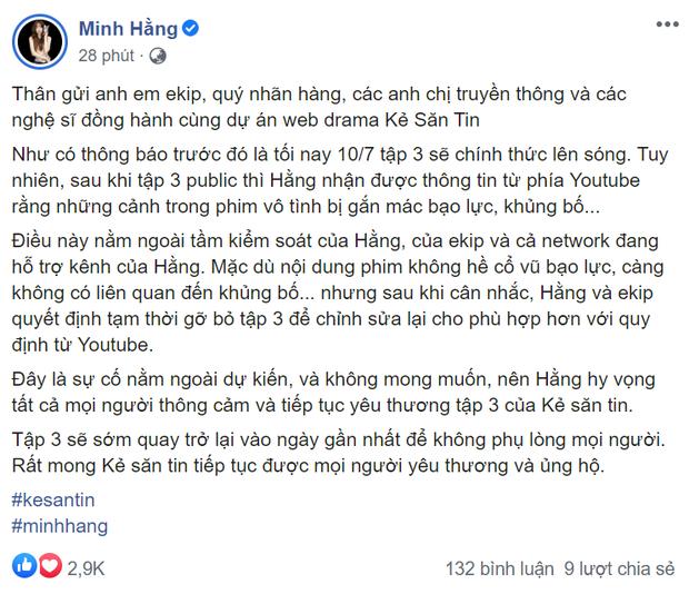 Tập 3 web drama của Minh Hằng vừa lên sóng đã bị gỡ vì Youtube gắn mác khủng bố - Ảnh 1.