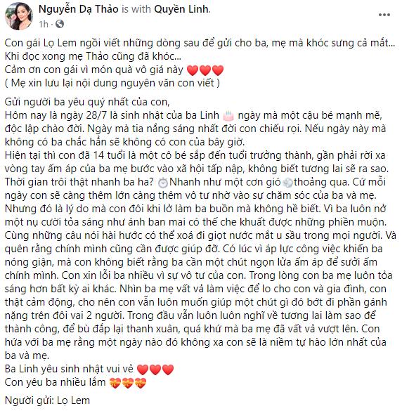 Con gái lớn nhà Quyền Linh đã viết gì trong bức tâm thư gửi cha mà cả 2 vợ chồng MC đều khóc? - Ảnh 1.