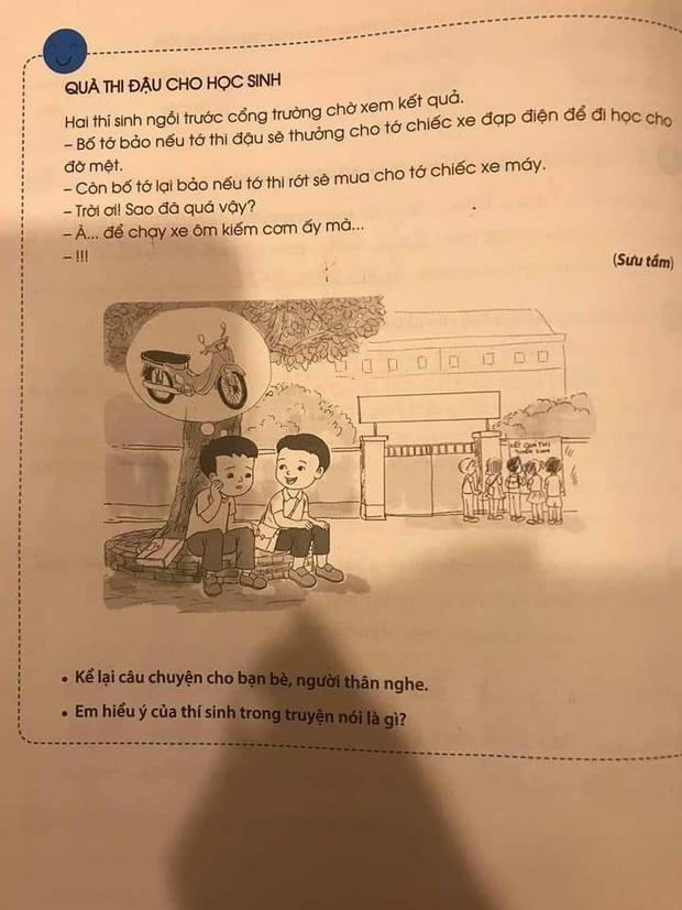 Sốc trước nội dung trong sách học Tiếng Việt lớp 2: Thi đậu thưởng xe đạp điện nhưng thi rớt được... xe máy? - Ảnh 2.