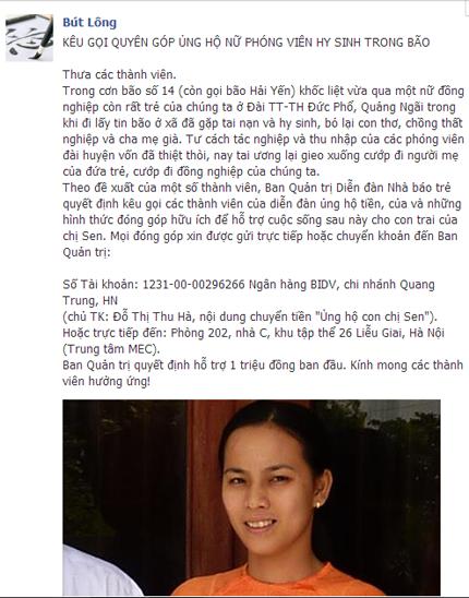 Cảm động tấm lòng của dân mạng đối với gia đình nữ phóng viên tử nạn trong bão Haiyan 2