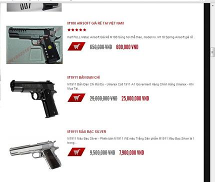 Kinh sợ nhiều trang web bán đao, kiếm, súng ống công khai 1