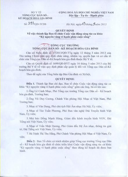"""Quyết định về việc thành lập Ban tổ chức Cuộc vận động sáng tác ca khúc """"Kỷ nguyên vàng vì hạnh phúc cuộc sống"""" 1"""