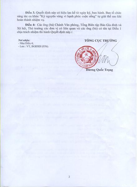 """Quyết định về việc thành lập Ban tổ chức Cuộc vận động sáng tác ca khúc """"Kỷ nguyên vàng vì hạnh phúc cuộc sống"""" 2"""