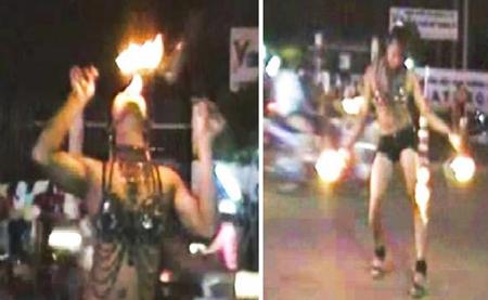 Múa lửa sexy giữa phố mưu sinh 1
