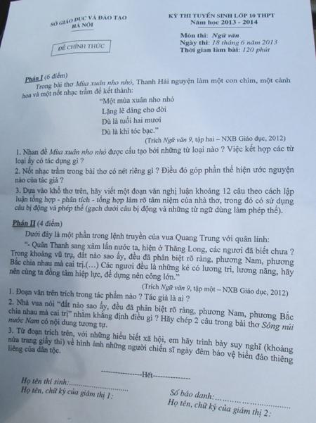 Thi vào lớp 10 tại Hà Nội: Đề Văn hay nhưng khó 1