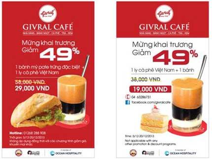 Ưu đãi 49% mừng khai trương Givral Café thứ 12 3