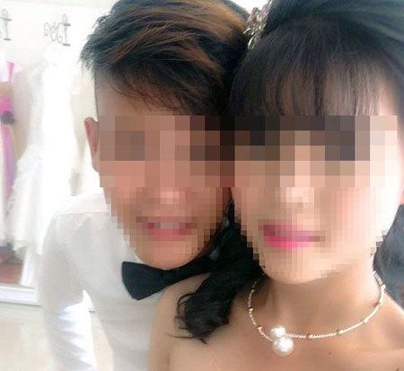 Ảnh cưới của cô dâu T. chỉ mới 14 tuổi với thanh niên V. - con trai của Phó Chủ tịch UBND xã Hương Quang (Vũ Quang, Hà Tĩnh). Ảnh: Facebook nhân vật.