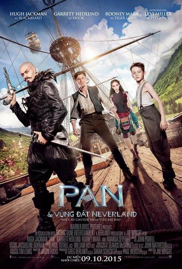 Poster phim Pan với bốn diễn viên chính (từ trái sang) là Hugh Jackman, Garrett Hedlund, Rooney Mara và Levi Miller.