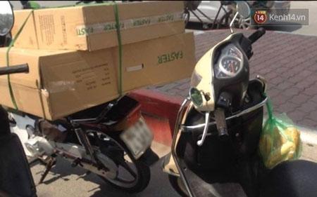 Xe chở hàng của nam thanh niên - (Ảnh: Định Nguyễn)