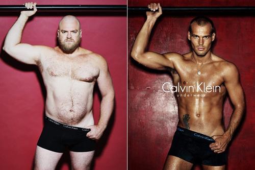 Những người mẫu nam có thân hình bụ bẫm vẫn không được ưu ái như các đồng nghiệp sở hữu cơ thể tiêu chuẩn. Ảnh: Pinterest.