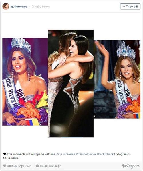 Hoa hậu Colombia chia sẻ trên Instagram