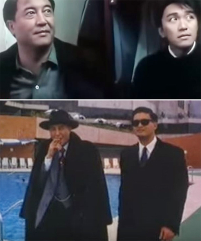 Kha Tuấn Hùng (bên trái) trong các phim hợp tác cùng Châu Tinh Trì (ảnh trên) và Châu Nhuận Phát.