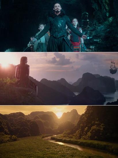 Ba điểm đến tại Việt Nam xuất hiện trong phim (từ trên xuống) - Hang Én, Vịnh Hạ Long và Ninh Bình.