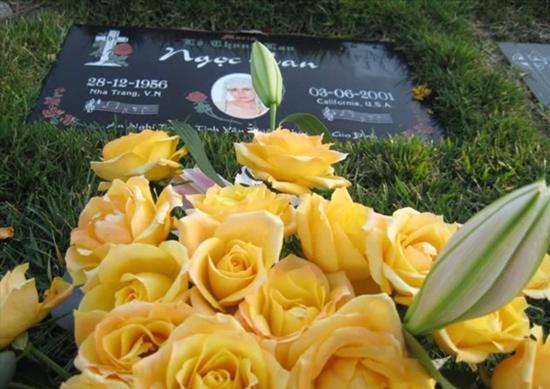 Bia mộ của Ngọc Lan.