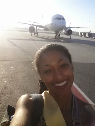 Lisa Drouillard, Hoa hậu Haiti, khoe mặt mộc khi vừa đặt chân tới Las Vegas.