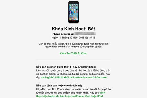 Trong hình kiểm tra, chiếc iPhone 6đã đăng nhập iCloud và đang kích hoạt Find My iPhone.