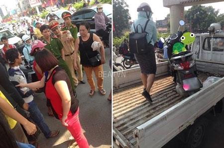 Cảnh sát giao thông và công an quận Thanh Xuân đưa hai chiếc xe và những người liên quan tới vụ việc về đồn giải quyết - (Ảnh: Beatvn).