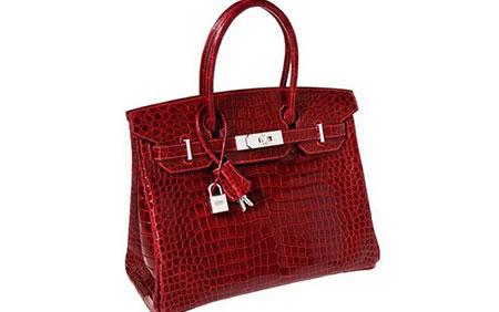 Túi da cá sấu Rouge H Porosus Crocodile của Hermes có giá 1,9 triệu USD. Phần khóa và móc được của chiếc túi này làm bằng 18karat vàng trắng và kim cương.