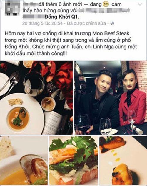 Vợ chồng Lê Thúy gửi lời chúc mừng khai trương tới Linh Nga và Tuấn Moon