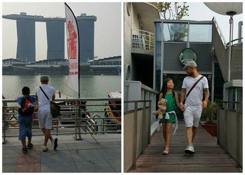 Hình ảnh đáng yêu của bố con Trần Lập trong chuyến đi nghỉở Singapore.