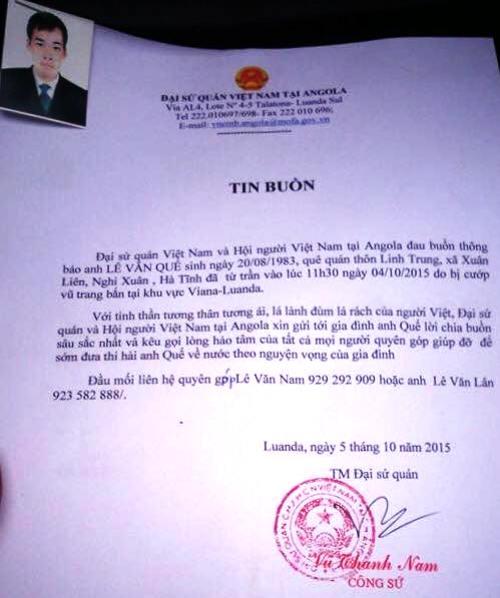 Thông báo từ Đại sứ quán Việt Nam ở Angola về nạn nhân xấu số bị bắn.