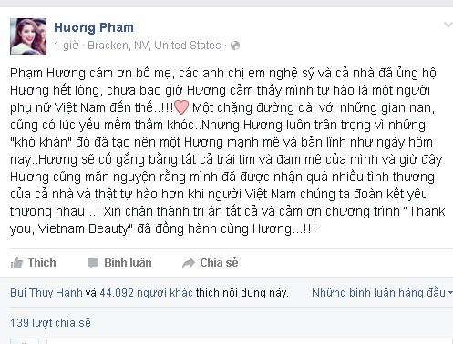 Lời tri ân của Phạm Hương được chia sẻ trên trang cá nhân
