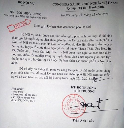 Công văn hỏa tốc của Bộ Nội vụ yêu cầu UBND Hà Nội rà soát lại kỳ thi tuyển viên chức 2015.