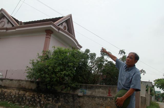 Ông Hợi bức xúc cho rằng dù nhiều năm rồi nhưng nghành điện vẫn chưa có biện pháp nào với đường dây điện đi sát mái nhà mình. Ảnh: Phan Ngọc