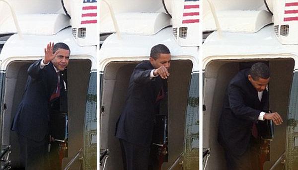 Cánh cửa khiến ông Obama trở nên ngượng ngùng vì chiều cao nổi bật của mình.