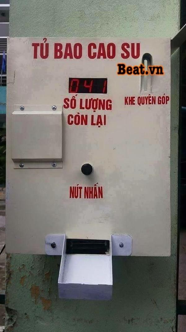 Hình ảnh chiếc máy phát bao cao su miễn phí được chia sẻ trên mạng - (Nguồn: Beatvn)