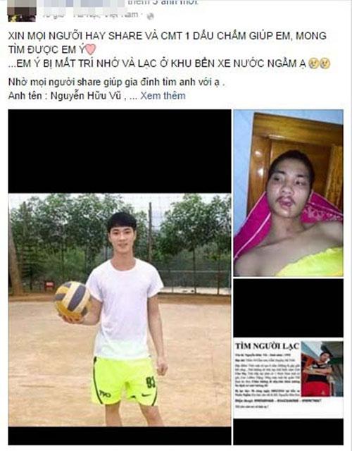 Thông tin chàng trai trẻ bị lạc ở bến xe Nước Ngầm được nhiều người chia sẻ lại - (Ảnh chụp màn hình).