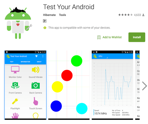 Giao diện làm việc của Test Your Android