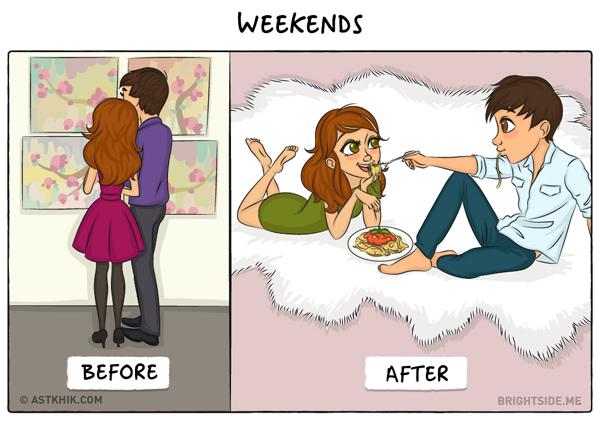 Khi còn tìm hiểu, bạn và người yêu thường cùng nhau đi chơi, dạo phố, ăn uống vào những ngày cuối tuần. Lúc đã về chung một nhà, cuối tuần, cả hai chăm sóc nhau bằng những bữa ăn ở nhà.