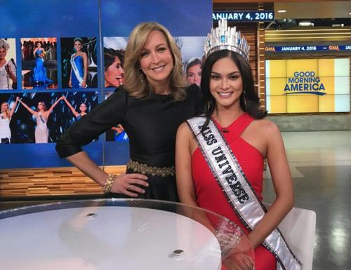 Hoa hậu Hoàn vũ trong chương trình Good Morning America.