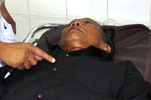 Nghi can chém chết vợ đang điều trị tại Bệnh viện đa khoa tỉnh Kiên Giang. Ảnh: Phúc Hưng