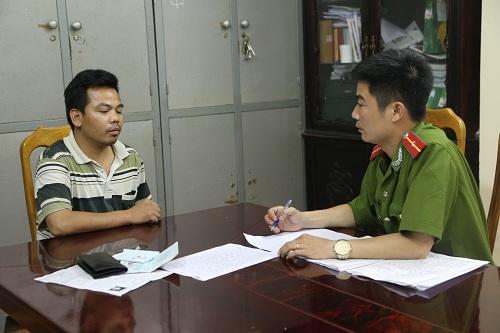 Lưu Văn Tiến tại cơ quan điều tra. Ảnh: Công an cung cấp