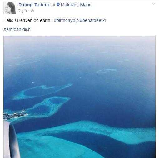 Tú Anh chia sẻ ảnh chụp từ máy bay chuyến đi đến Maldives.
