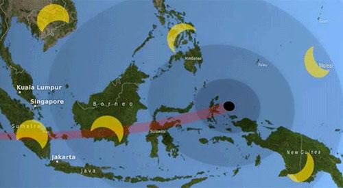 Bức ảnh minh họa dải toàn phần (path of totality) màu đỏ, vùng tối (umbra) là vòng tròn màu đen, vùng nửa tối (penumbra) là các vòng tròn đồng tâm màu tối. Theo đó, các thành phố/khu vực như Palembang ở phía Nam đảo Sumatra, Tanjung Pandan (Sumatra); Palangkaraya, Balikpapan (Kalimantan); Palu (Central Sulawesi); Ternate (North Maluku) và Sofifi (Papua) nằm trên dải màu đỏ nên quan sát được nhật thực toàn phần. Việt Nam nằm trong vùng nửa tối nên quan sát được nhật thực một phần. Ảnh: NASA/Scientific Visualization Studio.