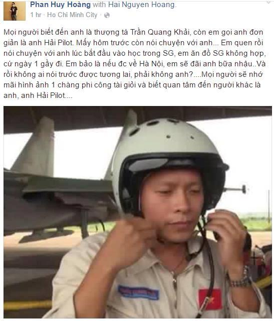 Chia sẻ của Facebook Phan Huy Hoàng tiếc thương phi công Trần Quang Khải. Ảnh chụp màn hình.