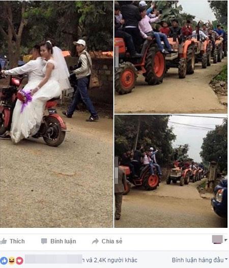 Màn rước dâu này hiện nhận hơn 2.000 like (thích) và hàng trăm bình luận, chia sẻ. Ảnh chụp màn hình.