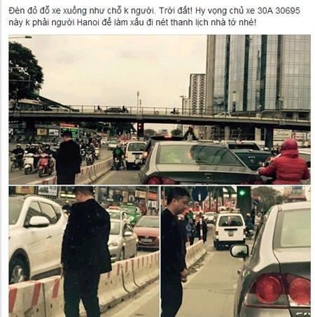 """Ngày hôm qua, các bức ảnh cho thấy một người đàn ông mặc vest đen bảnh bao, lái xe ô tô Honda Civic thản nhiên dừng xe rồi thoải mái đi vệ sinh vào dải phân cách giữa đường ngay giữa ban ngày đã gây bão cộng động mạng. Thời điểm đó có khá nhiều xe cô đi lại. Ngay bên cạnh là chiếc xế hộp vẫn đang im lìm đứng đợi chủ nhân """"giải quyết nỗi buồn"""". Theo tìm hiểu, những hình ảnh trên được ghi lại tại ngã tư Huỳnh Thúc Kháng - Láng Hạ (đối diện trụ sở Tập đoàn Dầu khí Việt Nam). Được biết, công an đã vào cuộc để tìm thủ phạm gây ra sự việc thiếu thẩm mỹ trên."""