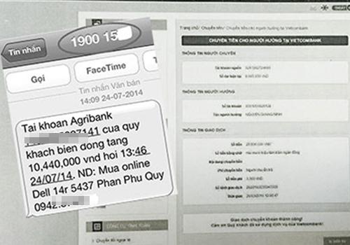 Tin nhắn chuyển tiền giả được Tú phù phép rồi gửi cho nạn nhân.